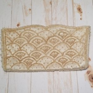 Vintage Satin Beaded Evening Clutch Mid Century